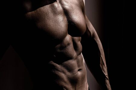 nude young: Muscular torso of sexy young male bodybuilder power athletic man with perfect muscles abs and bare nude chest on dark background Фото со стока