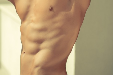 Muscular Male Torso And Side Chest With Six Pack Abdominal Muscles ...