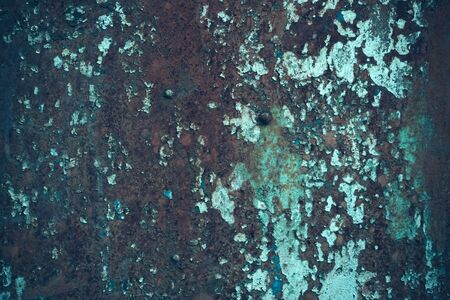 metallized: Metallic surface rusty cracked with old peeled paint on metallized background