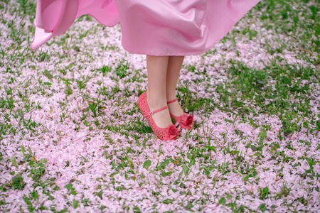 Female feet in red shoes of small girl in dress standing on green grass covered with spring flower blossom petals outdoor Stock Photo