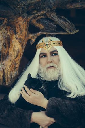 manteau de fourrure: Druid vieil homme avec de longs cheveux gris et barbe avec couronne en manteau de fourrure tient chat sur fond de bois sombre