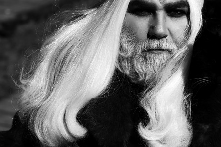 silver hair: Druid old man with long silver hair beard with cat on shoulder in fur coat black and white on grey background