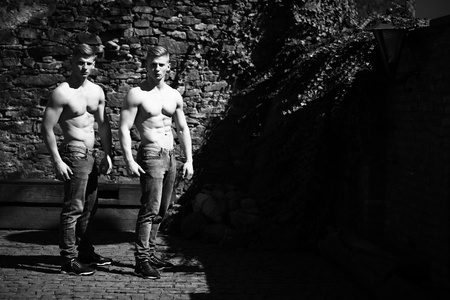 bare chest: Twin muscular bodybuilders with bare chest strong young men brothers sexy models in jeans with biceps abdominal muscles black and white on mural background