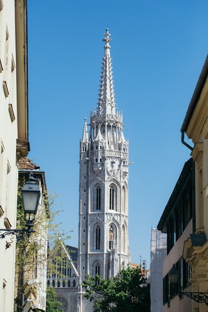 gothic build: Beautiful view of the Matthias church over the blue sky