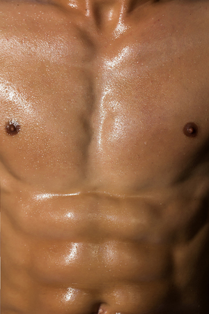 six packs: sexy muscular male torso six packs on wet body of athletic man training with bare strong chest, closeup