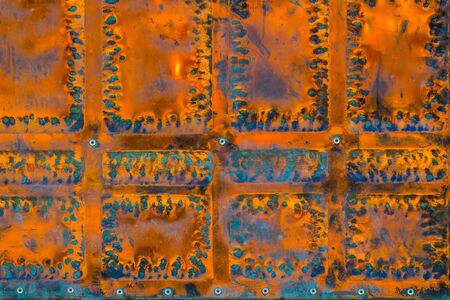 metallized: Metal with rust blue painted panel with rivets on metallized background
