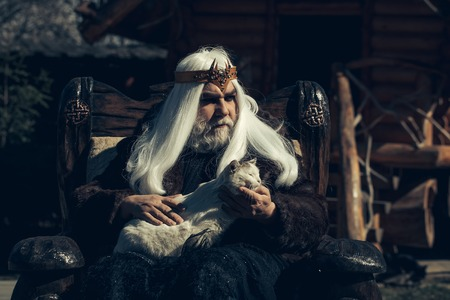 sits on a chair: Druid old man with long grey hair beard with crown in fur coat holds cat and sits in wooden chair on log house background