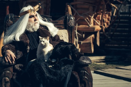 house coat: Druid old man with long grey hair beard with crown in fur coat holds two cats and sits in wooden chair on log house background