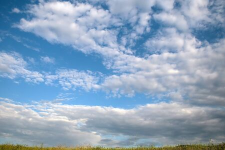 heavenly: Blue sky with white clouds beautiful summer green field landscape on heavenly background Stock Photo