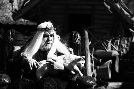 sits on a chair: Druid old man with long grey hair beard with crown in fur coat holds cat and sits in wooden chair black and white on log house background