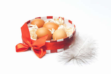 excelsior: Fresh natural brown eggs with excelsior in decorative round box with beautiful red bow and feather near on white background studio closeup Stock Photo