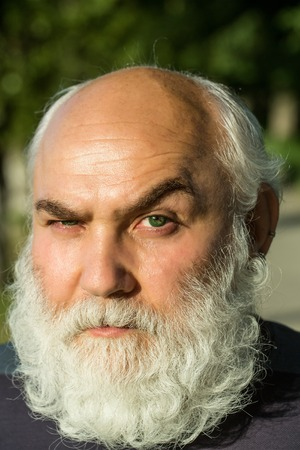 hairy closeup: male eye with bright dotty lens and hairy eyebrow of old bearded man with wrinkled skin and long beard on serious face, closeup Stock Photo