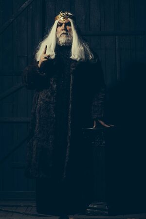 druid: old druid bearded man with long beard on serious face and hair in fur coat and crown with gem stones jewellery on wooden background near column Stock Photo