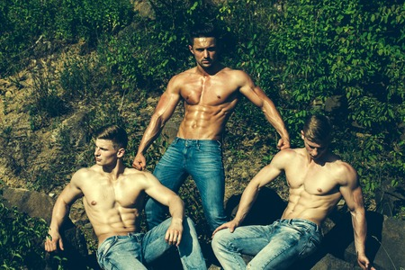 six packs: three handsome young macho men with muscular sexy body and six packs on torso in jeans sunny day outdoor on green natural background Stock Photo