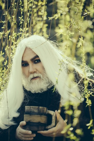 Druid old man with long grey hair and beard on serious face with wooden mug in hands in yellow flower bloom sunny day outdoor on natural background