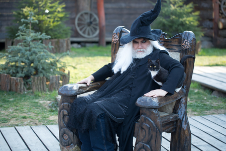 Evil wizard in black costume hat for Halloween withs cat sits in wooden chair on natural background Zdjęcie Seryjne