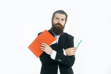 notepaper: young handsome bearded man scientist or professor businessman with long beard in jacket holding red book or notepaper and pencil isolated on white background