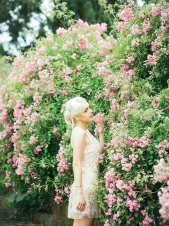 rose bush: Young woman with pretty face blonde hair in beautiful vogue cream-colored dress posing near rose bush in pink blossom background outdoor