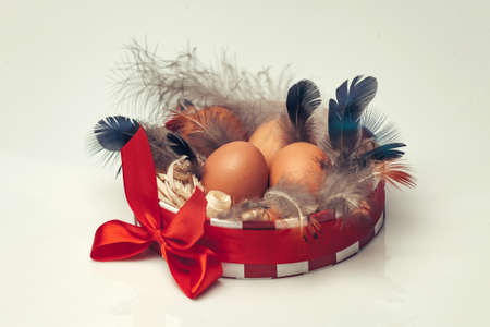 excelsior: Many brown fresh eggs with black feathers and excelsior in round decorative box decorated by beautiful bright red bow on white background closeup studio Stock Photo