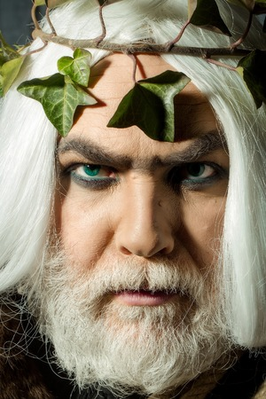 enchant: Zeus god man or jupiter with vine crown on long hair with beard Stock Photo