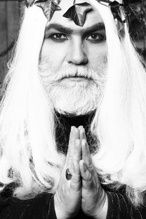 metaphysics: Zeus god or jupiter with vine crown. Mythology, ancient Greece, black and white Stock Photo