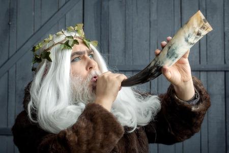 metaphysics: Zeus god man or jupiter with vine crown on long hair and horn