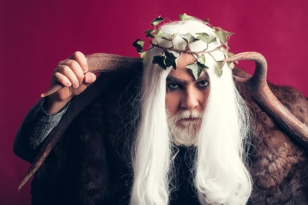 metaphysics: Zeus god or jupiter with antler and vine crown Stock Photo