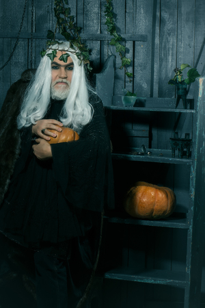 house robe: Fairytale old magician with white long hair and beard in black robe with wreath of ivy holding squash in wooden house Stock Photo