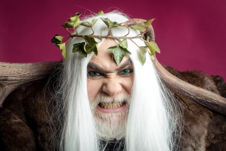 Zeus god or jupiter with antler and vine crown Stock Photo