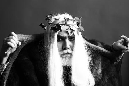 Zeus god or jupiter with vine crown. Mythology, ancient Greece, black and white Stock Photo