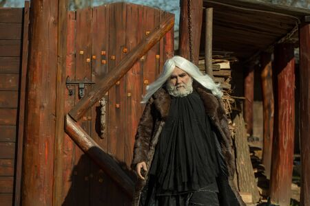 druid: Druid old bearded man with long white hair and beard on serious face in fur coat sunny day outdoor on wood background Stock Photo