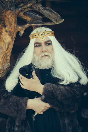 manteau de fourrure: Druid old man with long grey hair and beard with crown in fur coat holds cat on dark wooden background