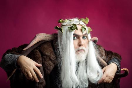 Mythology, ancient Greece. Zeus god or jupiter with vine crown.