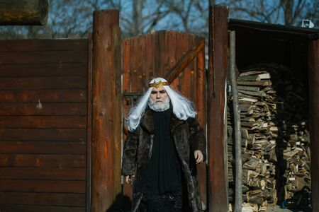 druid: Druid old bearded man with long white hair and beard on serious face in fur coat and golden crown sunny day outdoor on wood background Stock Photo