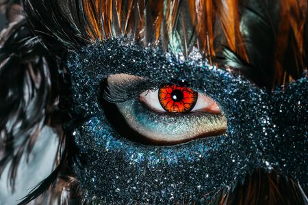 mystique: Male eye with red decorative lens in beautiful vintage sparkling dark mask with brown feathers and mystique sight masquerade decor background closeup
