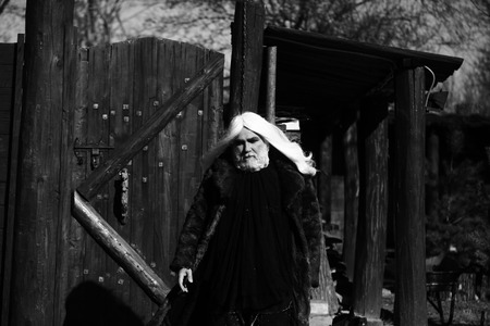 druid: Druid old bearded man with long white hair and beard on serious face in fur coat sunny day outdoor on wood background, black and white
