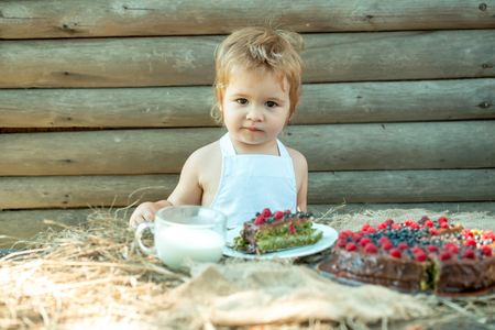 pinafore: Cute little boy in white pinafore sits at table served with fruit cake and cup of milk outdoors on wooden background