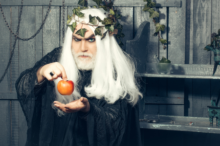 metaphysics: Zeus god man or jupiter with enchanted apple and vine crown on long hair with beard