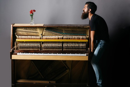 handsome bearded strong man with stylish hair mustache and beard trying to move old wooden or wood open piano with keyboard and glass vase with red rose flowers on grey background, copy space Stock Photo