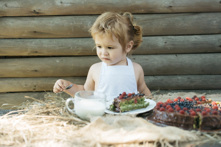 pinafore: Cute little boy in white pinafore eats fruit cake and cup of milk at table outdoors on wooden background Stock Photo