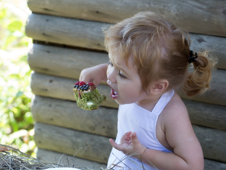 pinafore: Cute little boy with blond hair ponytail in white pinafore eats fruit cake with berries on summer day on wooden background