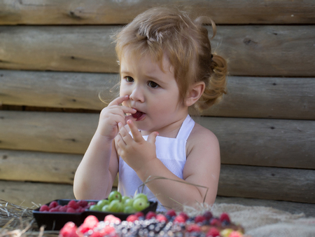 pinafore: Cute little boy with blond hair ponytail in white pinafore eats red raspberry at rustic table with berries and fruit cake on wooden background