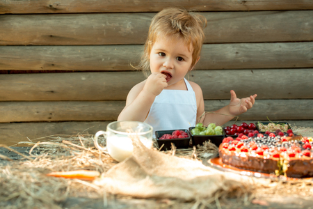 eats: Cute little boy in white pinafore eats berries raspberry gooseberry cherry currant at table with fruit cake and cup of milk on wooden background Stock Photo