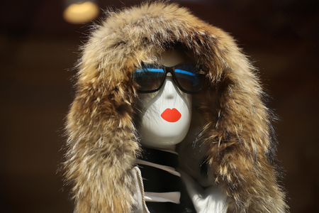 fur hood: Fashion female mannequin in glamorous sunglasses and fur hood in shop on brown background