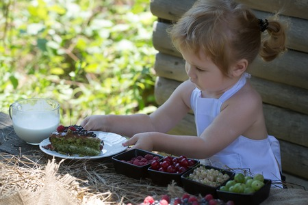 Cute little boy with blond hair ponytail in white pinafore serves at rustic table with fruit cake berries and cup of milk on summer day on wooden background