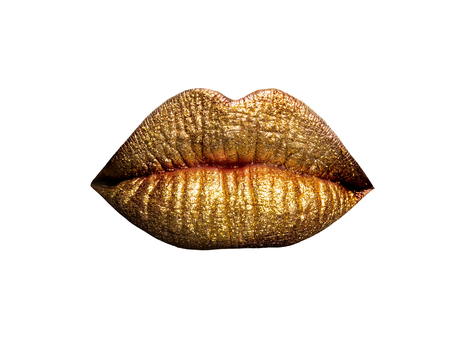 metallized: sexy female golden or gold lips isolated on white background as makeup or body art painted mouth metallized color