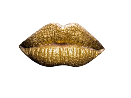 body paint sexy: sexy female golden or gold lips isolated on white background as makeup or body art painted mouth metallized color