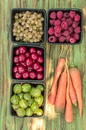 raspberry cherry gooseberry and white grape or currant berry fruit with orange carrot vegetable assortment red and green color with healthy vitamins on wooden or wood table