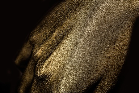 metallized: female golden or gold hand or arm with palm and fingers with body art painted metallized color, closeup