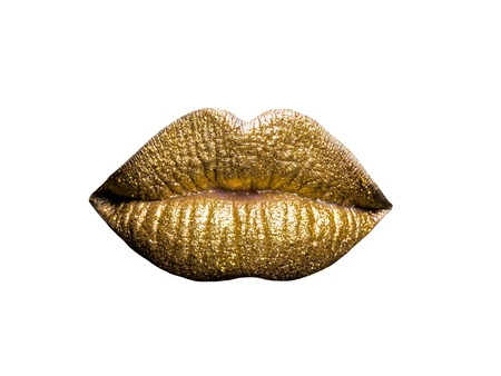 female golden or gold lips isolated on white background as makeup or body art painted mouth metallized color